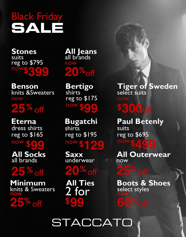 2016 Black Friday Sale Staccato Menswear Vancouver