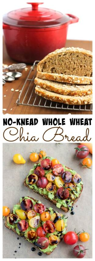 Crusty, no-knead whole wheat chia bread is loaded with seeds and oats but requires minimal prep work and no kneading! Assemble the dough in just a few minutes!
