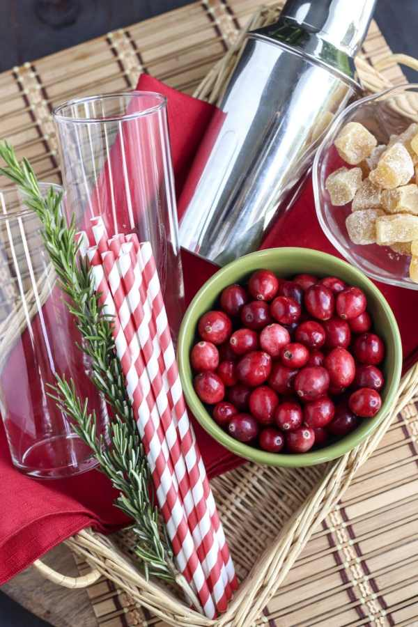 ingredients for cranberry ginger margaritas