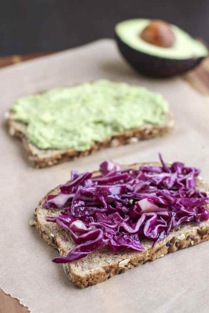 avocado and cabbage sandwich