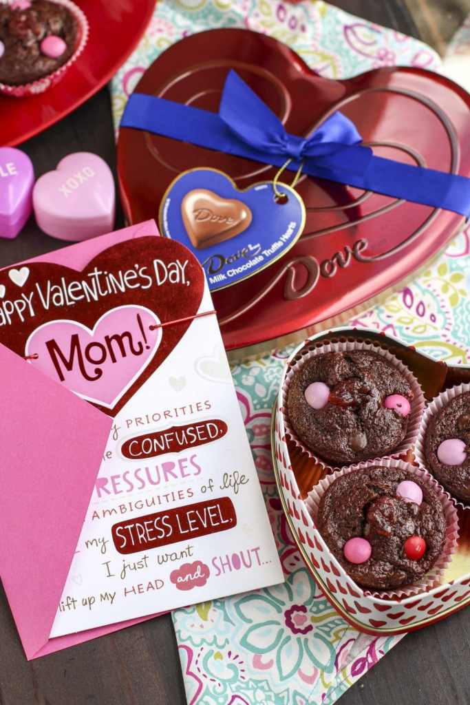 chocolate strawberry filled muffins and cards