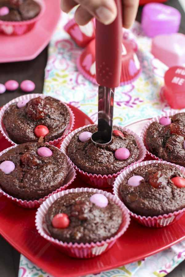 coring chocolate strawberry filled muffins