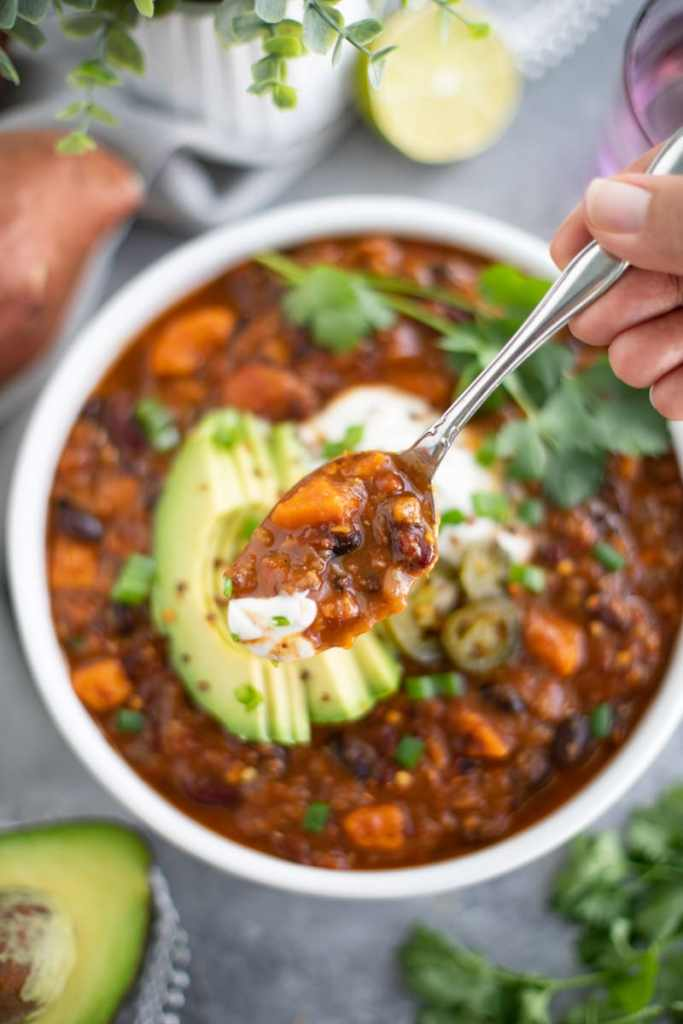 This one pot sweet potato lentil chili is a staple in our house, especially on meatless Monday!