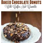 Baked chocolate donuts that you don't have to feel guilty about eating! The coffee nut crumble really makes these taste special!