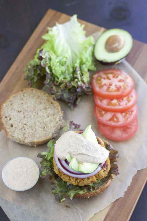 clinton kelly's fabulous sweet potato burgers loaded with toppings!