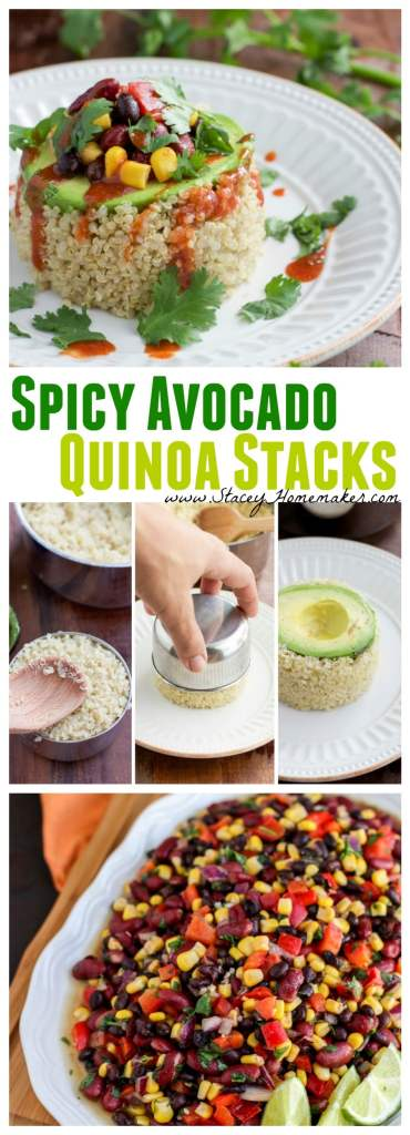 A spicy avocado quinoa stack is simple to make, and can be a quick healthy dinner or fancy appetizer that will impress your guests. Vegetarian, dairy-free, and gluten-free.