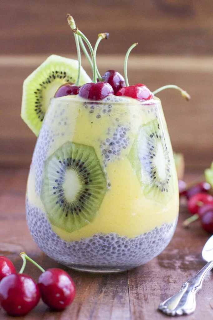 Mango chia seed pudding cup