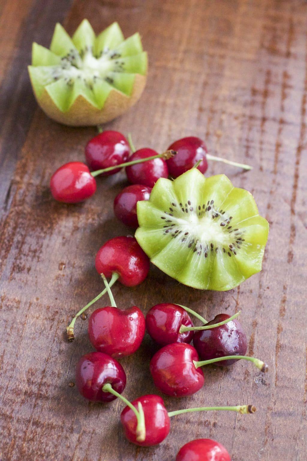 Kiwi Mango Cherry Chia Seed Pudding