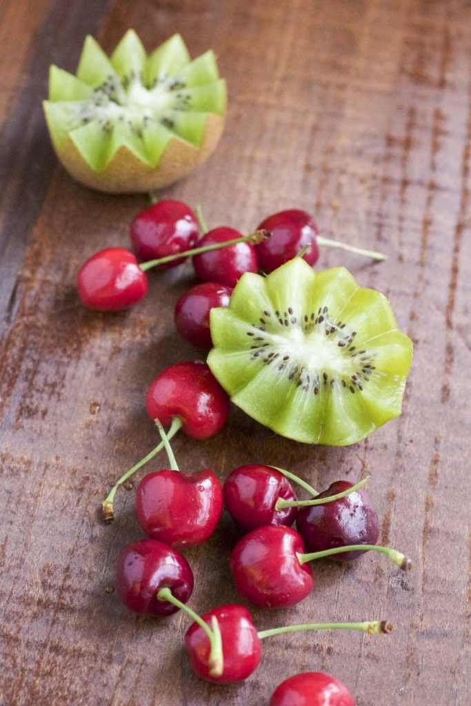 fresh cherries and kiwis