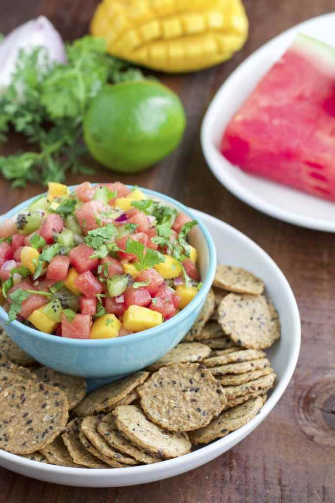 10 minute watermelon kiwi mango fruit salsa