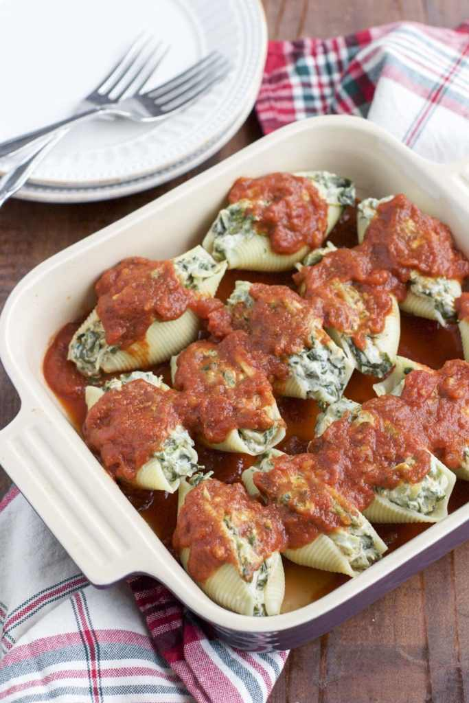 Dairy-free spinach artichoke stuffed shells for a healthy dinner