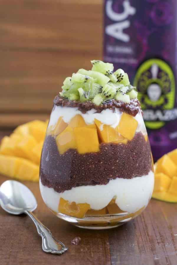 acai chia seed pudding mango kiwi parfait