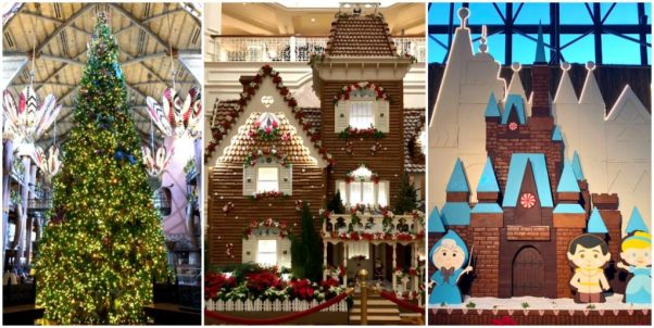 A picture collage showing different free Disney World Christmas activities like the Grand Floridian gingerbread house, the Contemporary gingerbread house, and the AKL Christmas tree.