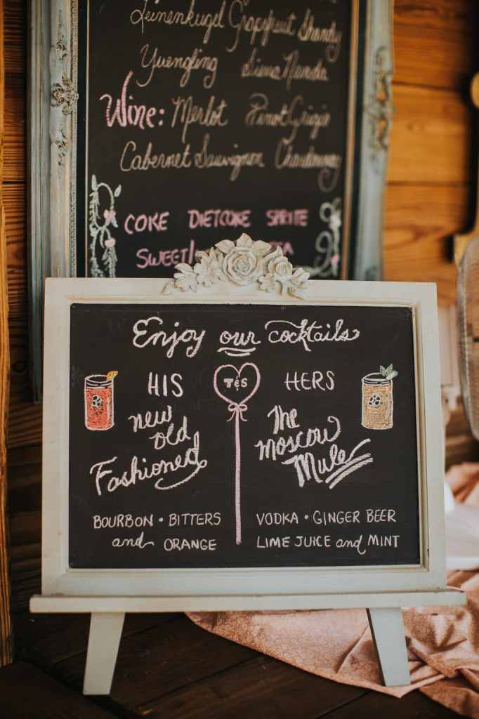 Signature drink sign at our wedding at Cross Creek Ranch!