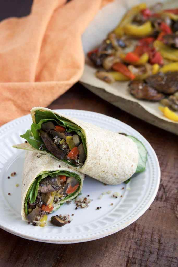 We love these quick & healthy vegan portobello mushroom veggie wraps for dinner on Meatless Mondays!