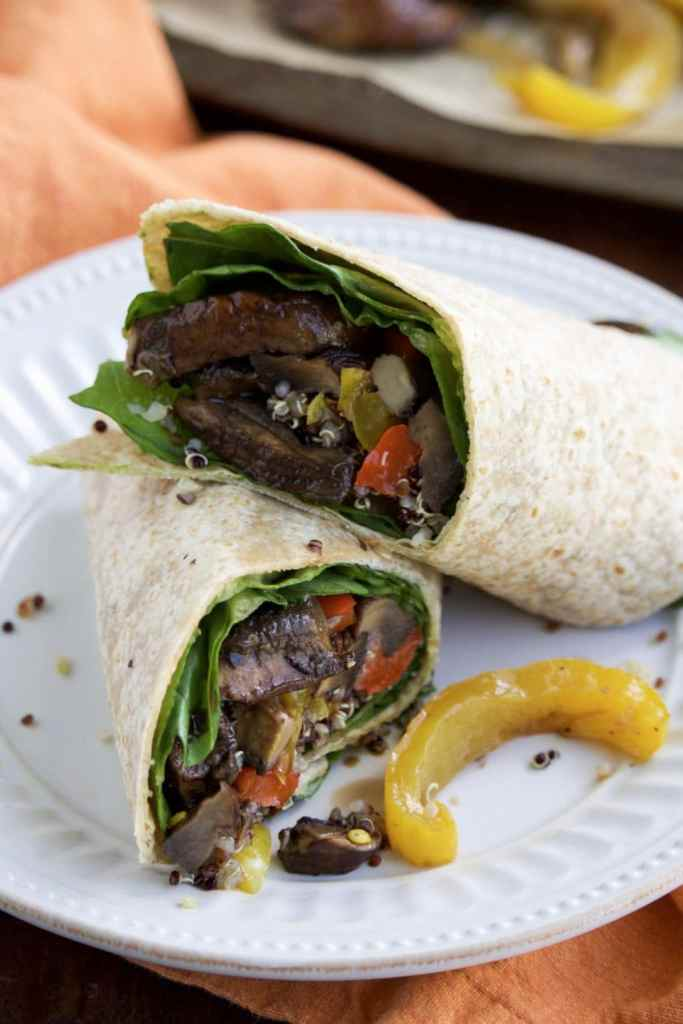 We love these quick & healthy vegan portobello mushroom veggie wraps for dinner on Meatless Mondays!
