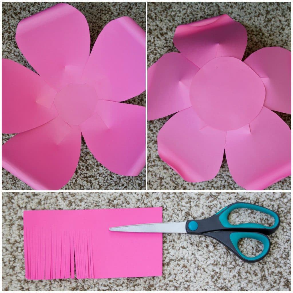 How to make large paper flowers attach the petal to the paper circle continue to glue the petals to the circle until you have complete the circle mightylinksfo