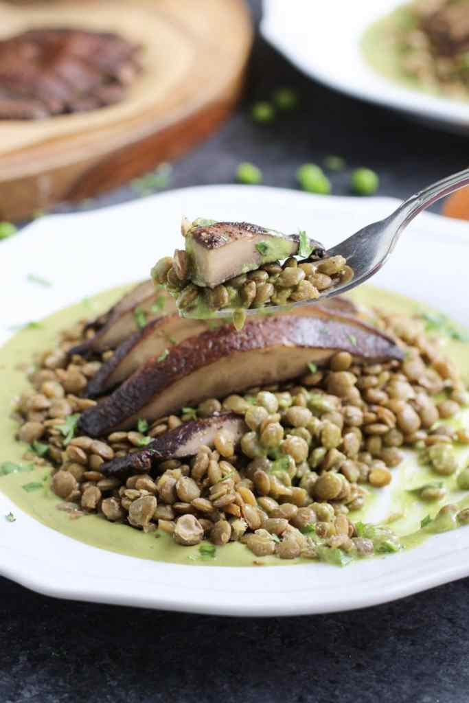 I had these delicious roasted portobello mushrooms with green pea pesto lentils for dinner on a Disney cruise. The recipe turned out even better at home! It's omnivore and vegan approved and ready in 30 minutes! Vegan, dairy-free & gluten-free.