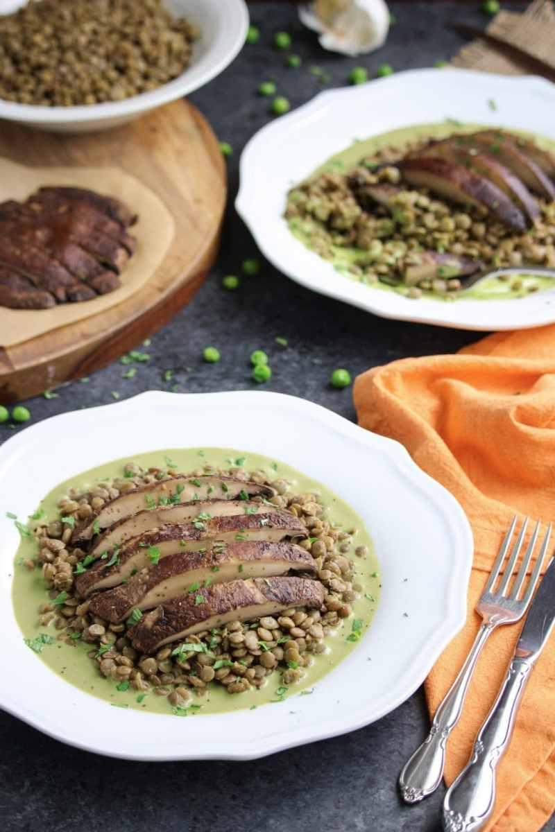 Roasted Portobello Mushrooms with Green Pea Pesto Lentils