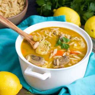 We LOVE this loaded lemon artichoke orzo soup recipe! It's full of veggies and the lemon broth is to die for-- pure, nourishing comfort food!