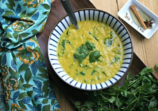 30 Minute Creamy Spiced Red Lentil Soup with Spinach