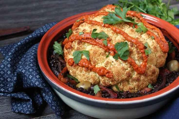 Tajine Lentil Stew with Whole Roasted Cauliflower - Dish 'n' the Kitchen