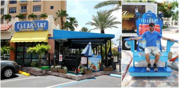 The entrance of Clear Sky Cafe on Clearwater Beach, Florida.