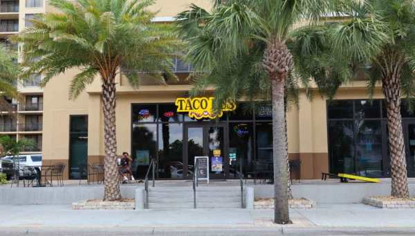 The entrance to Taco Bus on Clearwater Beach, Florida.