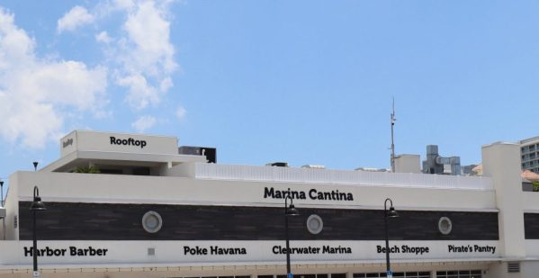 The outside view of Marina Cantina and the rooftop bar in Clearwater Beach.