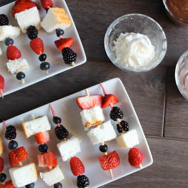 Red, White & Blue Angel Food Cake Skewers | Vegetarian
