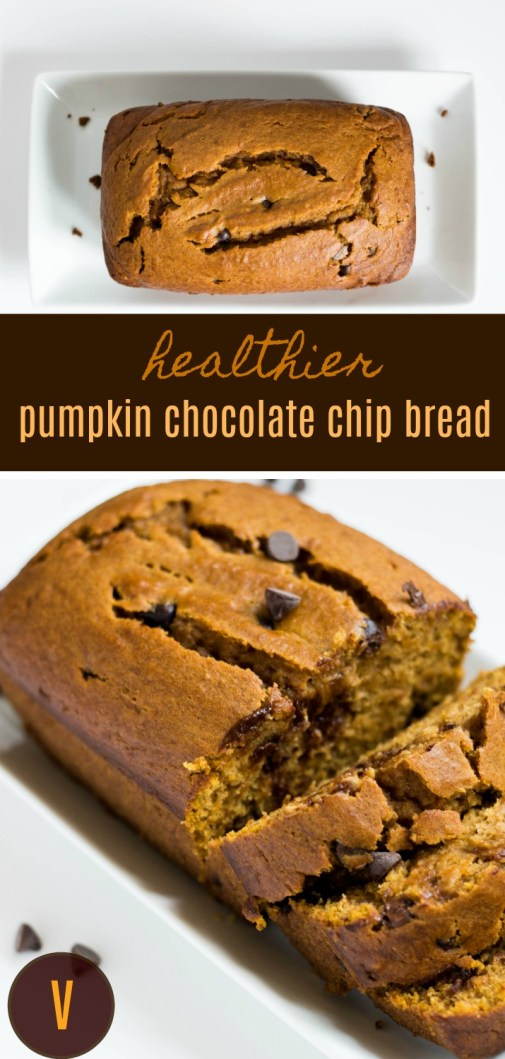 Healthy Pumpkin Chocolate Chip Bread | Vegetarian | by Stacey Mattinson, MS, RDN, LD