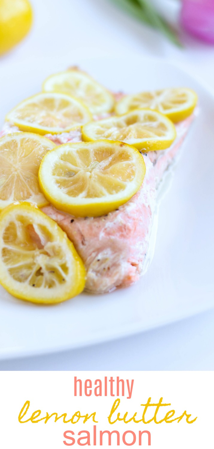 You are going to love this healthy lemon butter salmon recipe! I've skinnied it down so it's ever so light on the butter, and it brings out the best salmon flavors. | Healthy Lemon Butter Salmon Recipe by Stacey Mattinson Nutrition