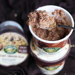 High Protein Dark Chocolate Cinnamon Pecan Oatmeal with Peanut Powder | Vegetarian