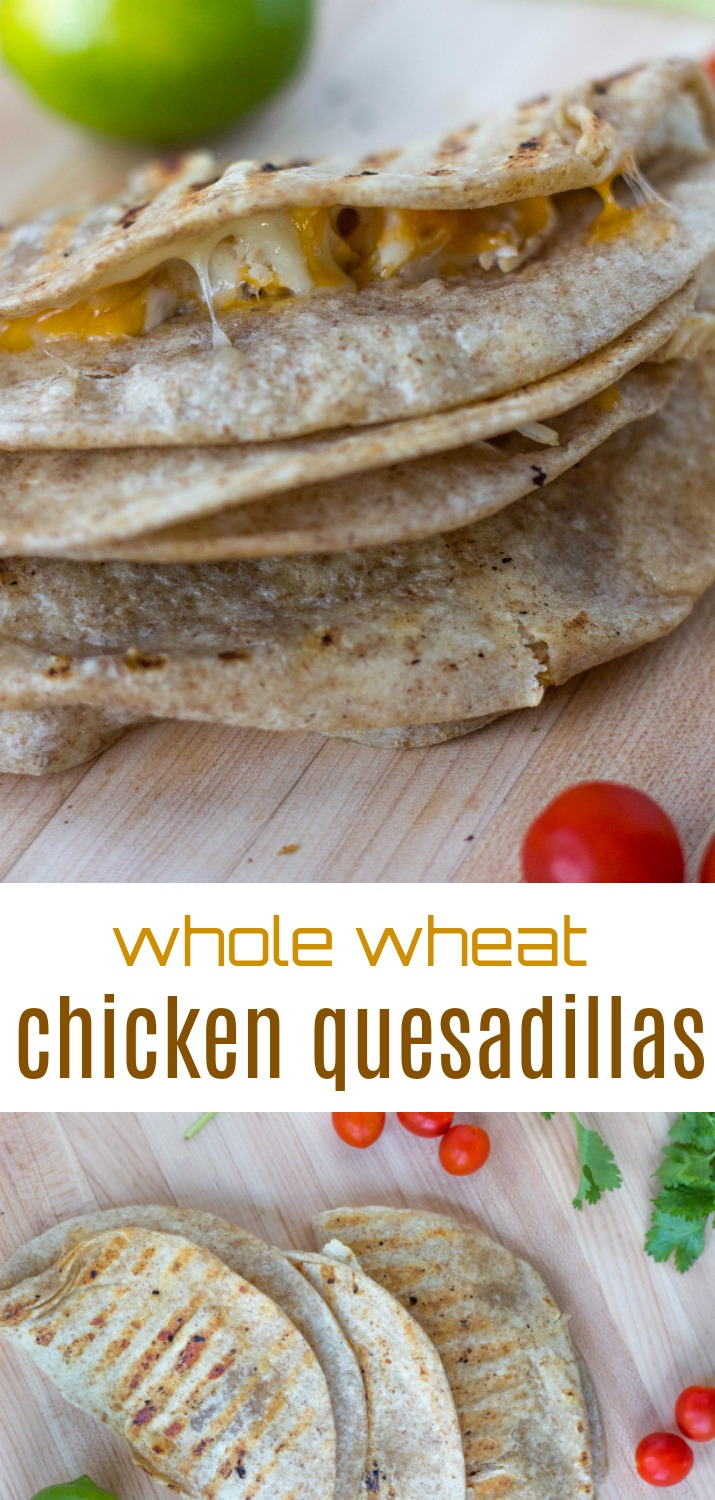 Want a yummy, easy meal? Try these whole wheat chicken quesadillas. | Whole Wheat Chicken Quesadillas by Stacey Mattinson Nutrition