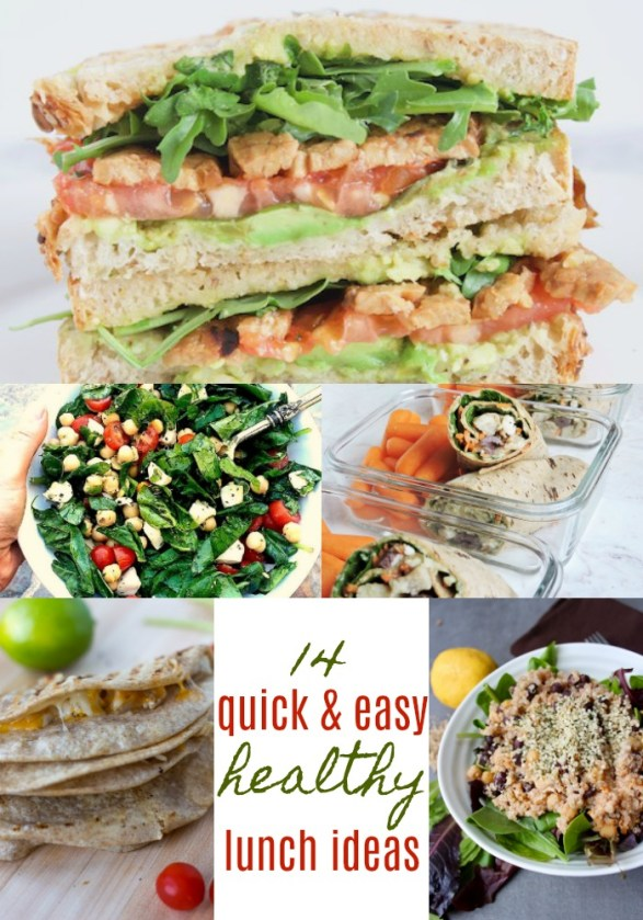 Need some quick and easy, healthy lunch inspo? Check out these awesome quick and easy lunch ideas. | 14 Quick & Easy Lunch Ideas by Stacey Mattinson, MS, RDN, LD