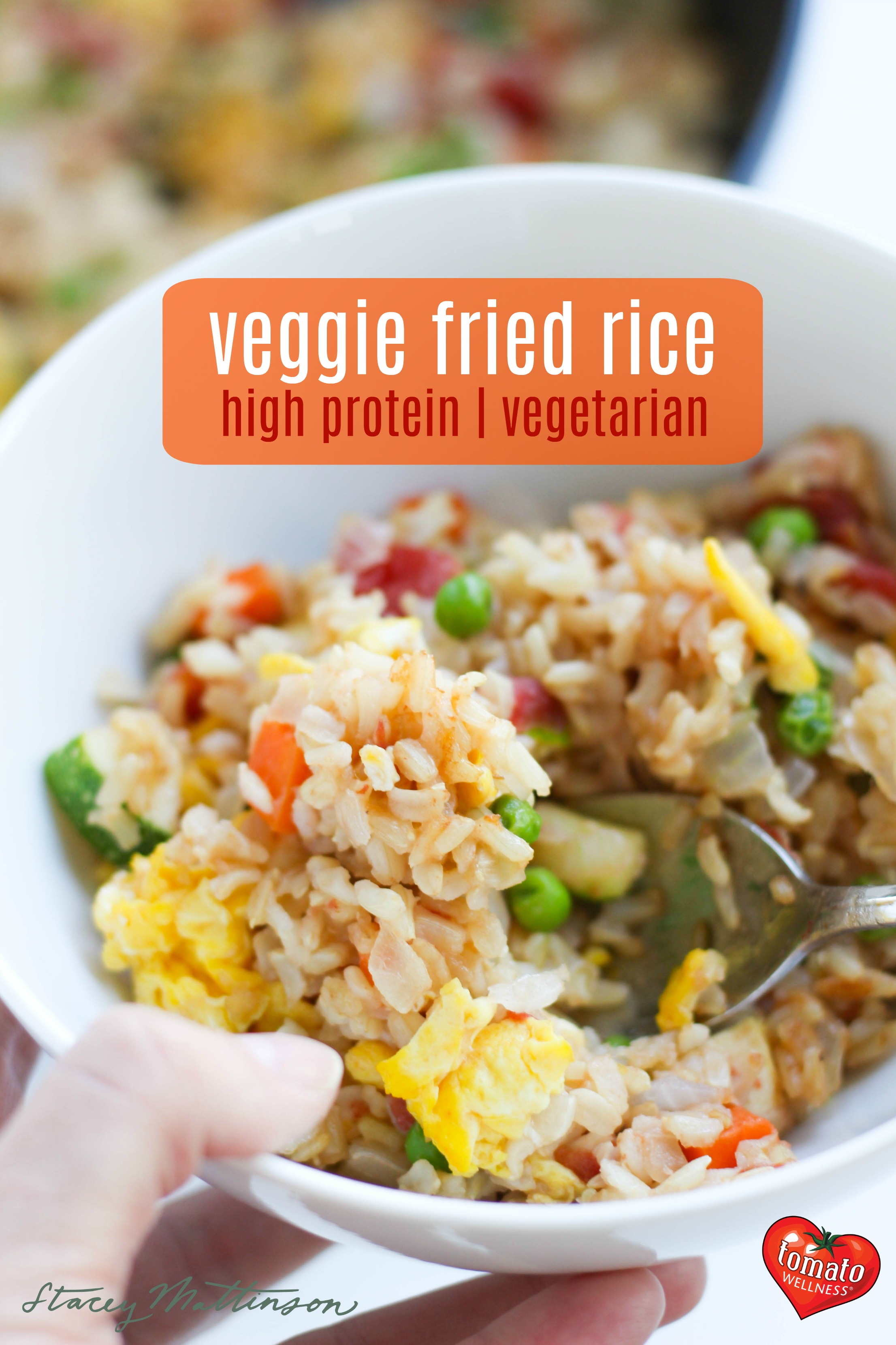 Try this high protein veggie fried rice with tofu and tons of veggies for a throw-together, one pan meal! | Veggie Fried Rice by Stacey Mattinson Nutrition