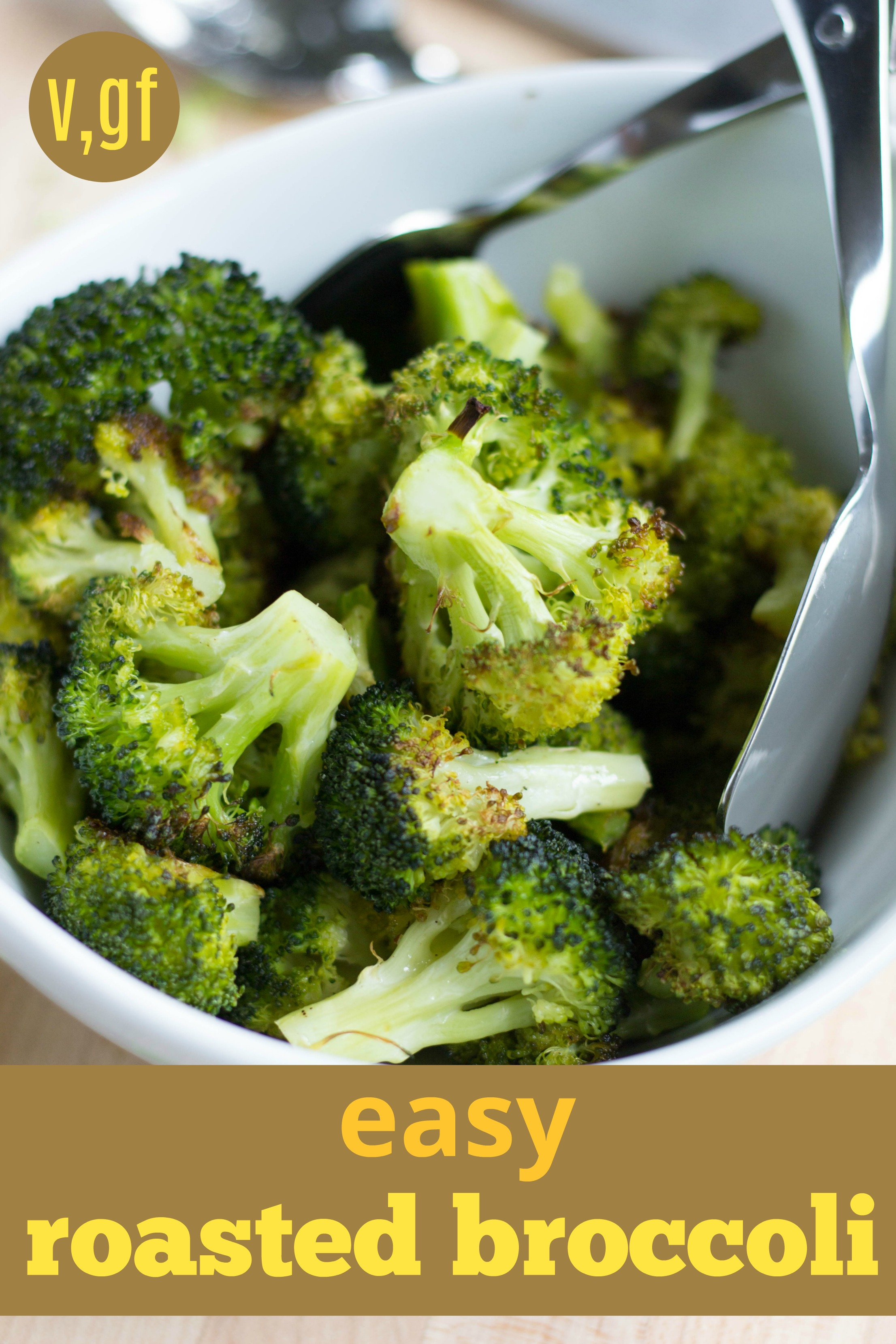 Easy, roasted broccoli ready in TWENTY minutes! This is one of my go-to, veggie side dishes. Naturally vegan and gluten-free. Easy Roasted Broccoli by Stacey Mattinson Nutrition