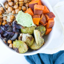 Warm Winter Veggie Bowl with Quinoa and Creamy Avocado Dressing | Vegetarian