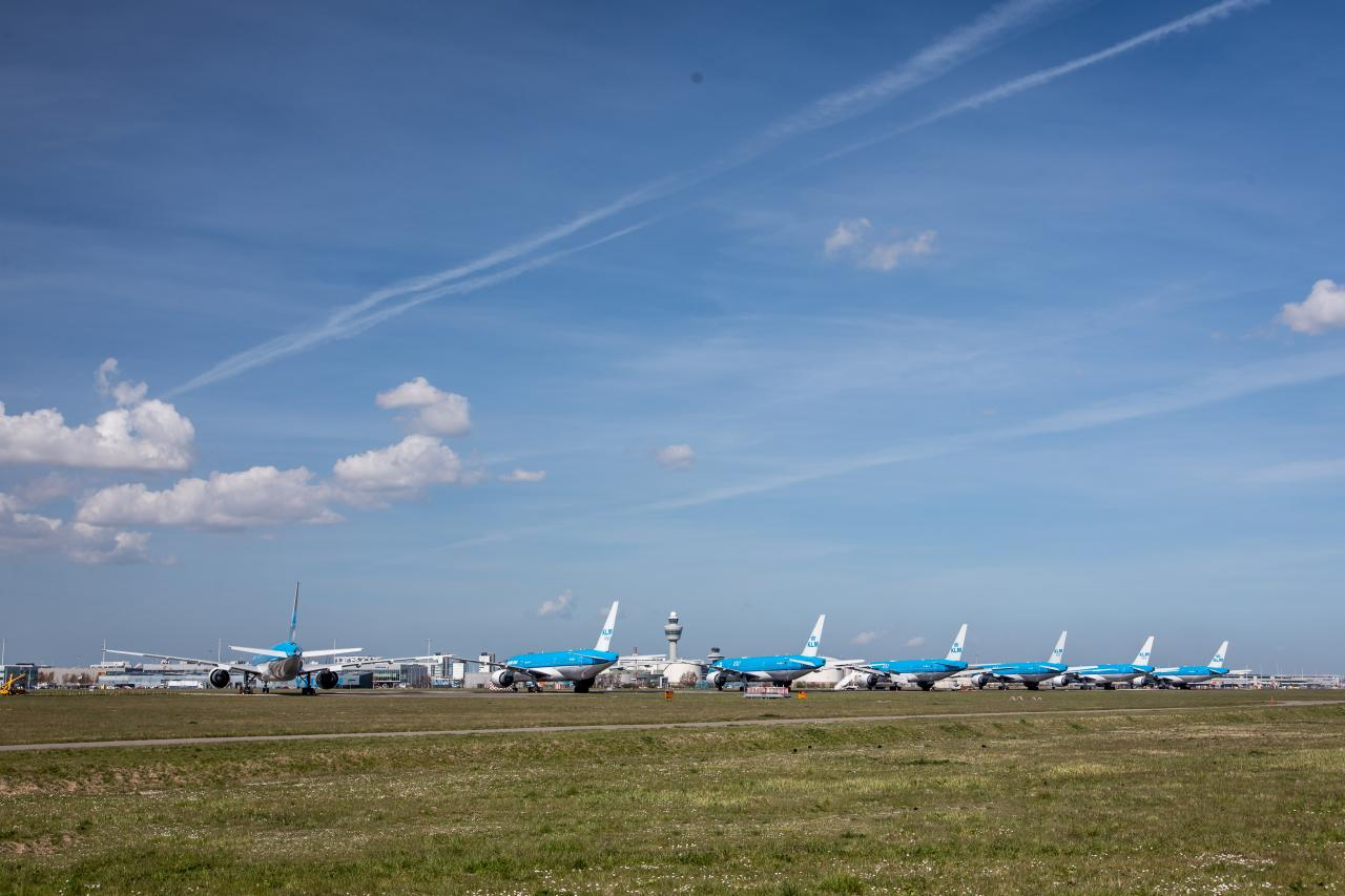 KLM aircraft parked at an airport