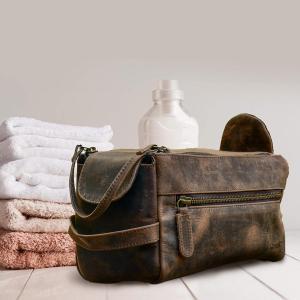Buffalo leather toiletry kit