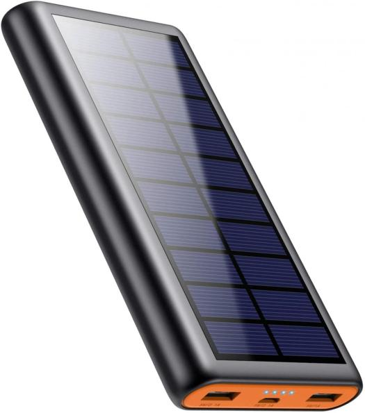 Solar Charger,26800mAh Solar Battery Power Bank Portable Panel Charger with LEDs and 2 USB Output Ports External Battery Pack