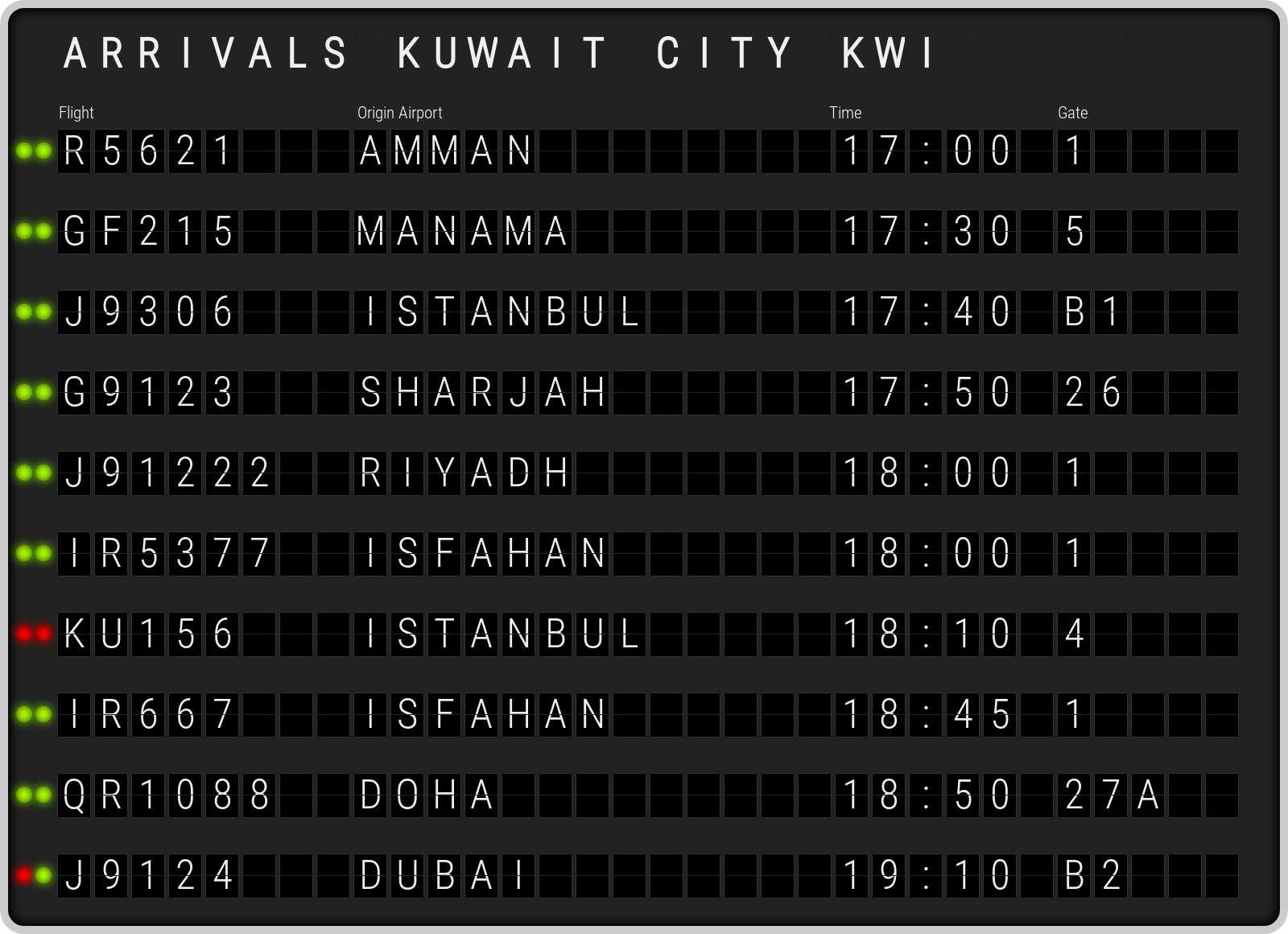 Kuwait airport arrivals board