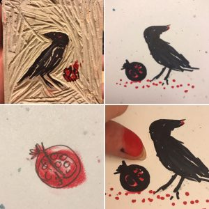 Tiny Raven and Thumbprint Pomegranate