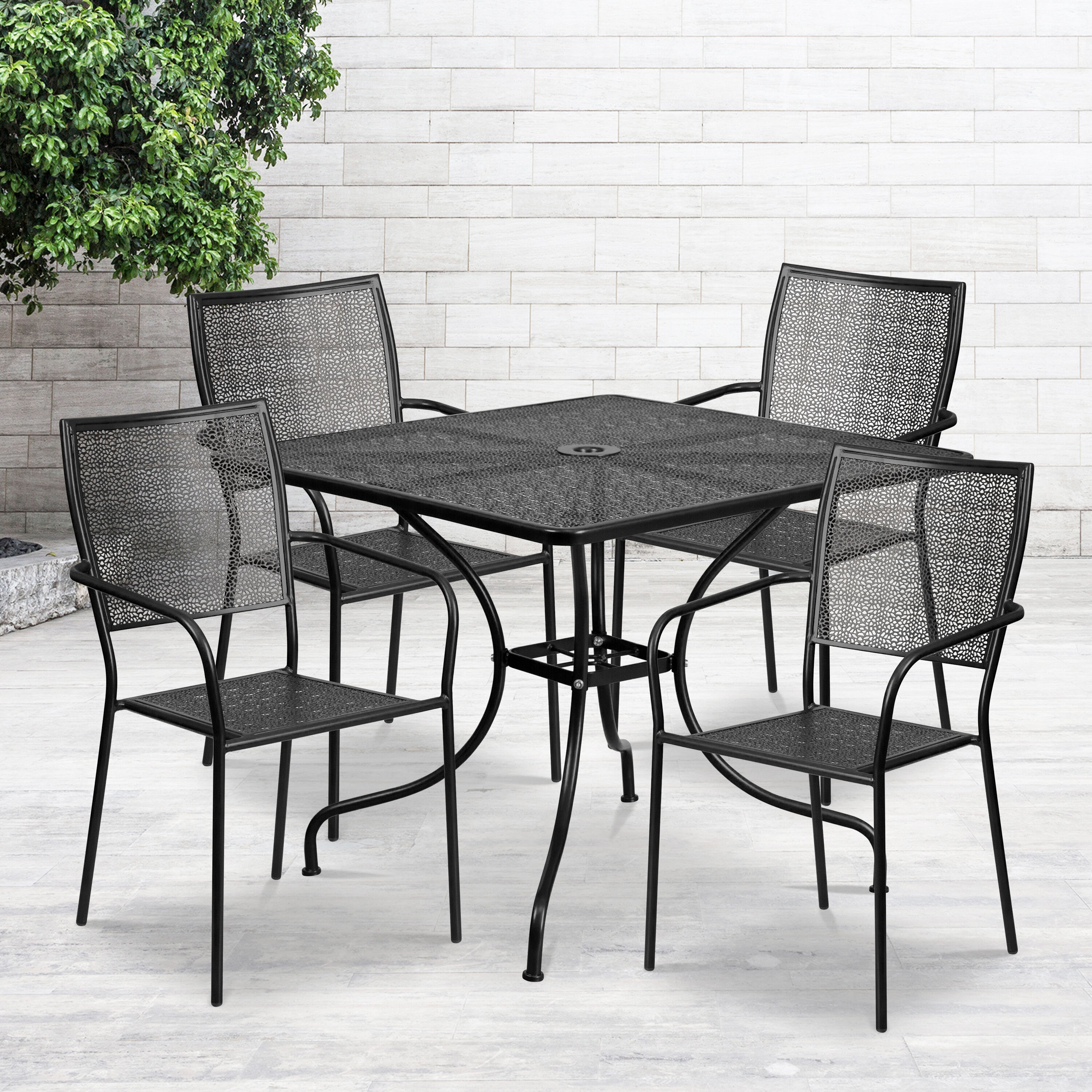 commercial grade 35 5 square black indoor outdoor steel patio table set with 4 square back chairs