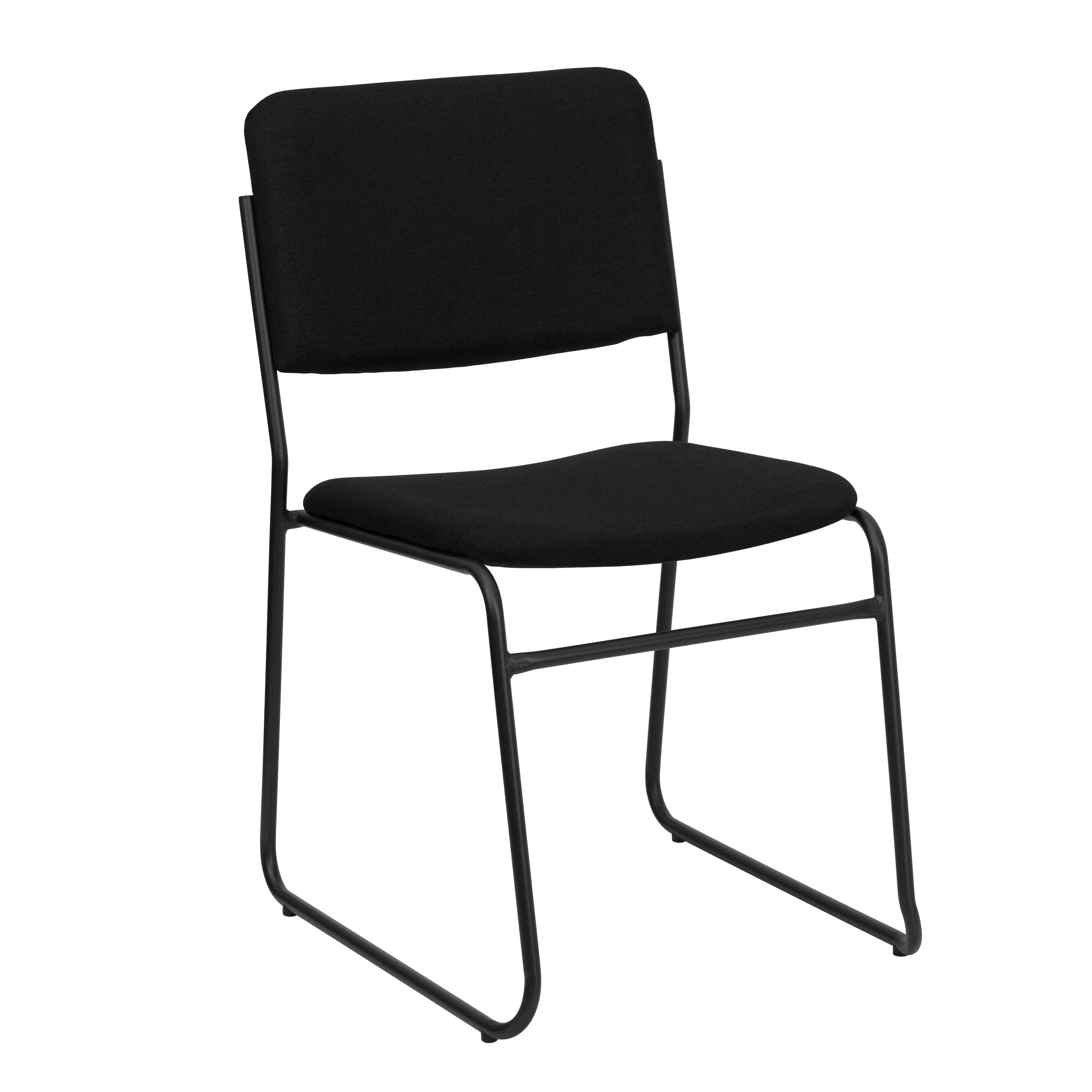 Hercules Series 1000 Lb Capacity High Density Black Fabric Stacking Chair With Sled Base