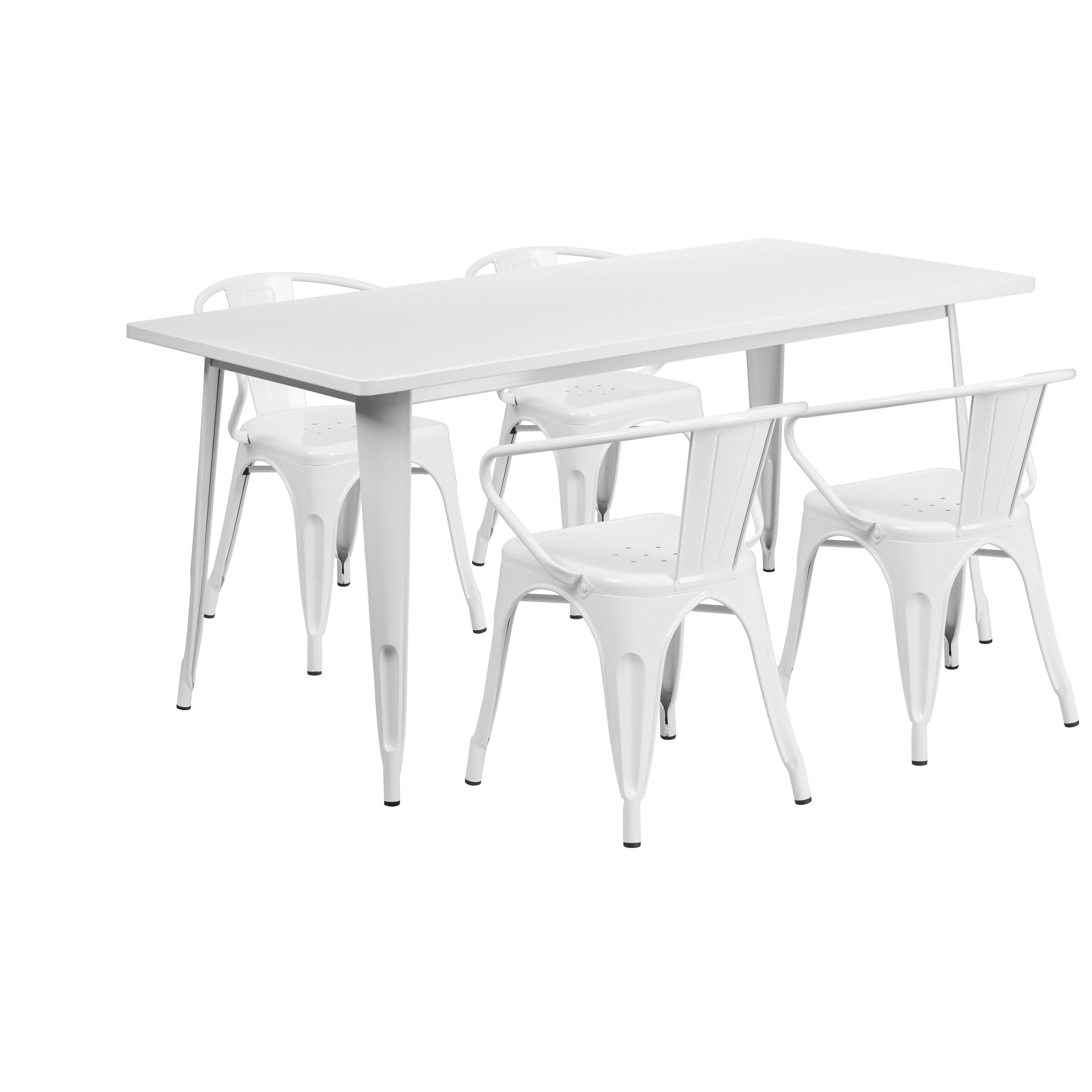 rectangular rubber chair glides covers from wayfair 31 5x63 white metal table set et ct005 4 70 wh gg stackchairs4less com images