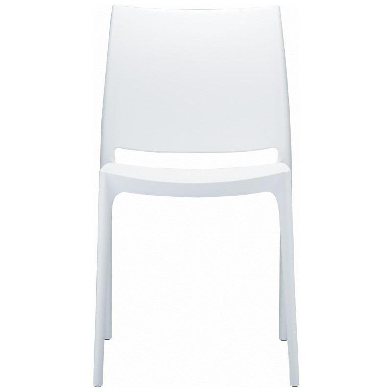 Maya Outdoor Polypropylene Stackable Dining Chair  White