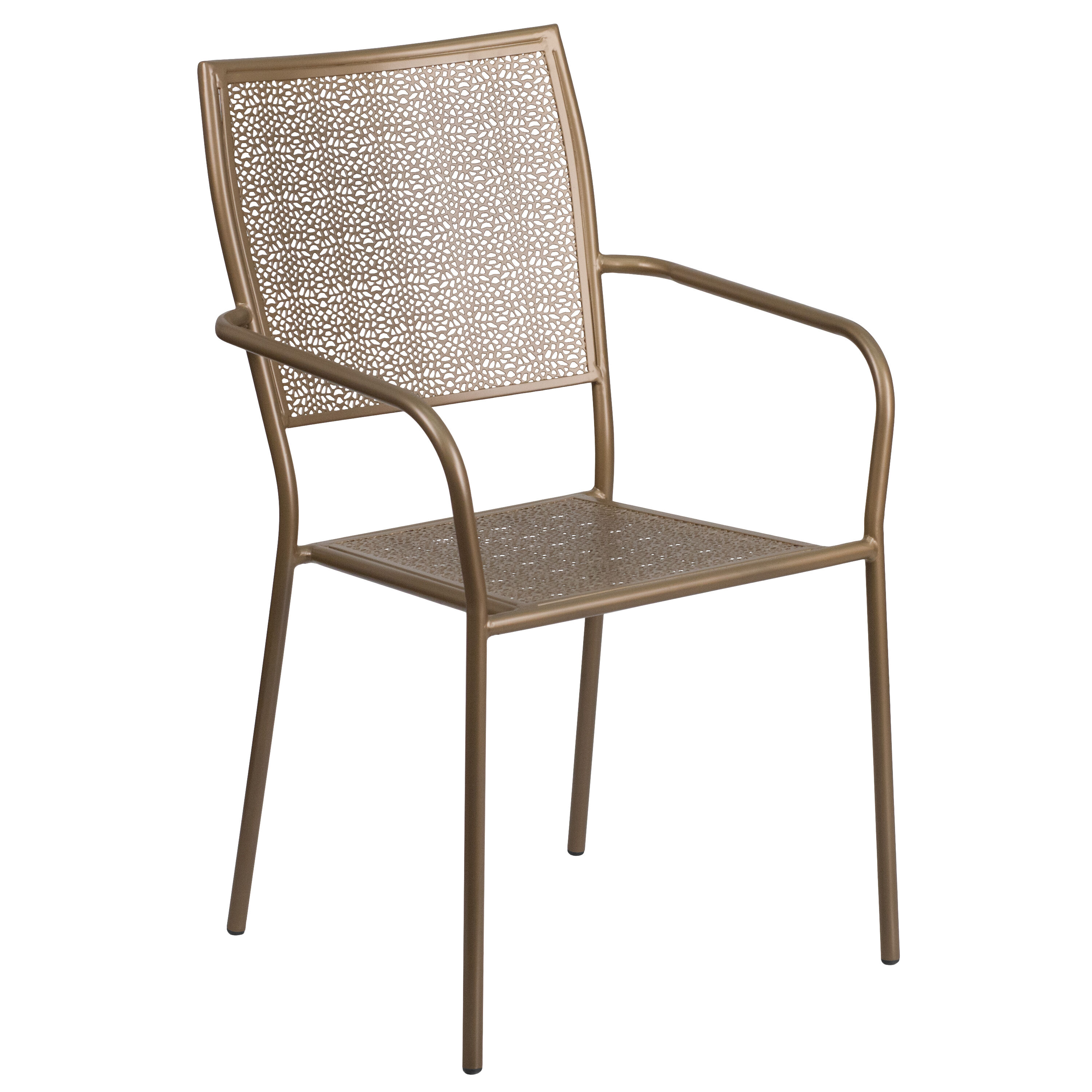 steel chair gold hanging evermotion square back patio co 2 gd gg stackchairs4less com