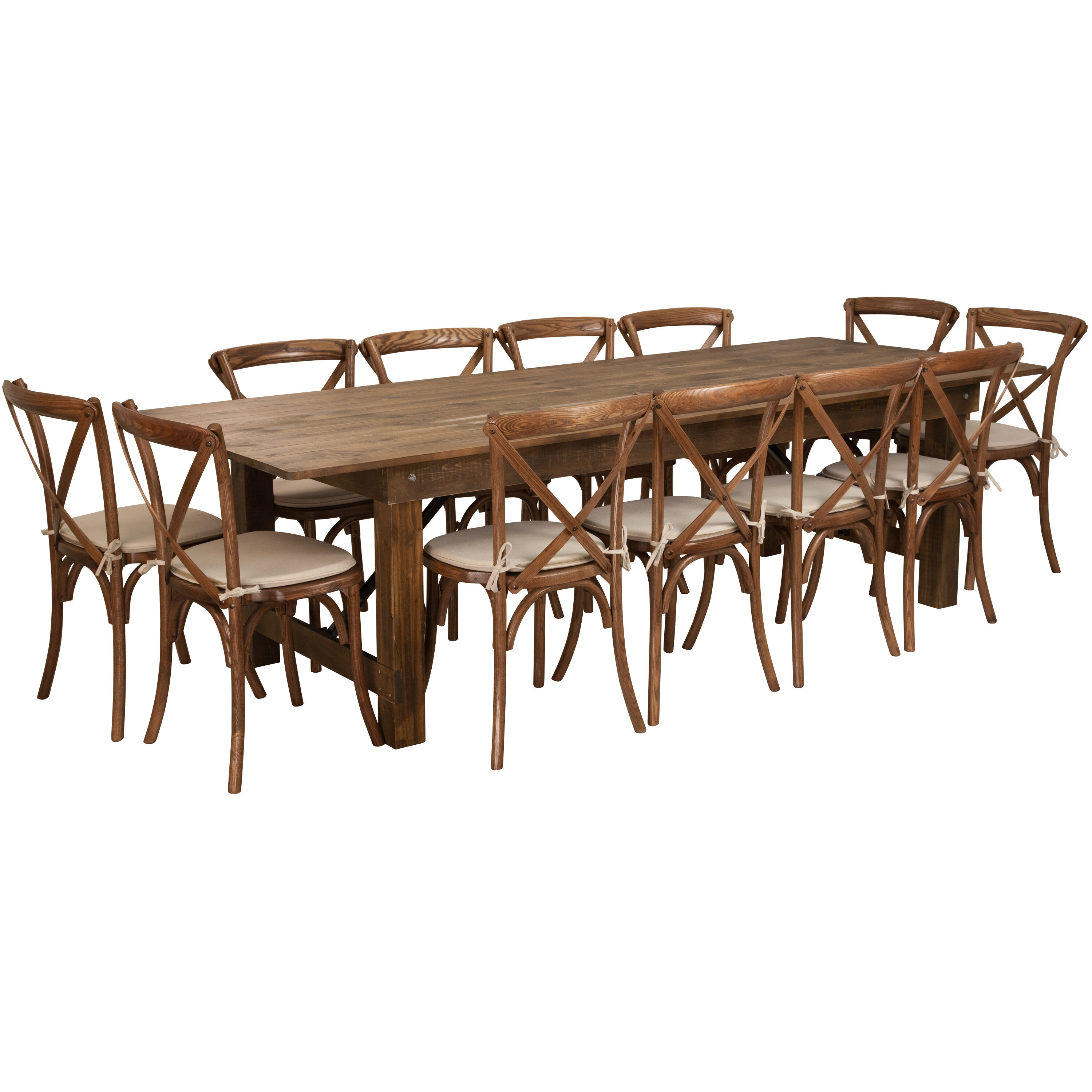 rustic farm table and chairs cream leather occasional 9 x40 12 chair set xa 16 gg stackchairs4less com