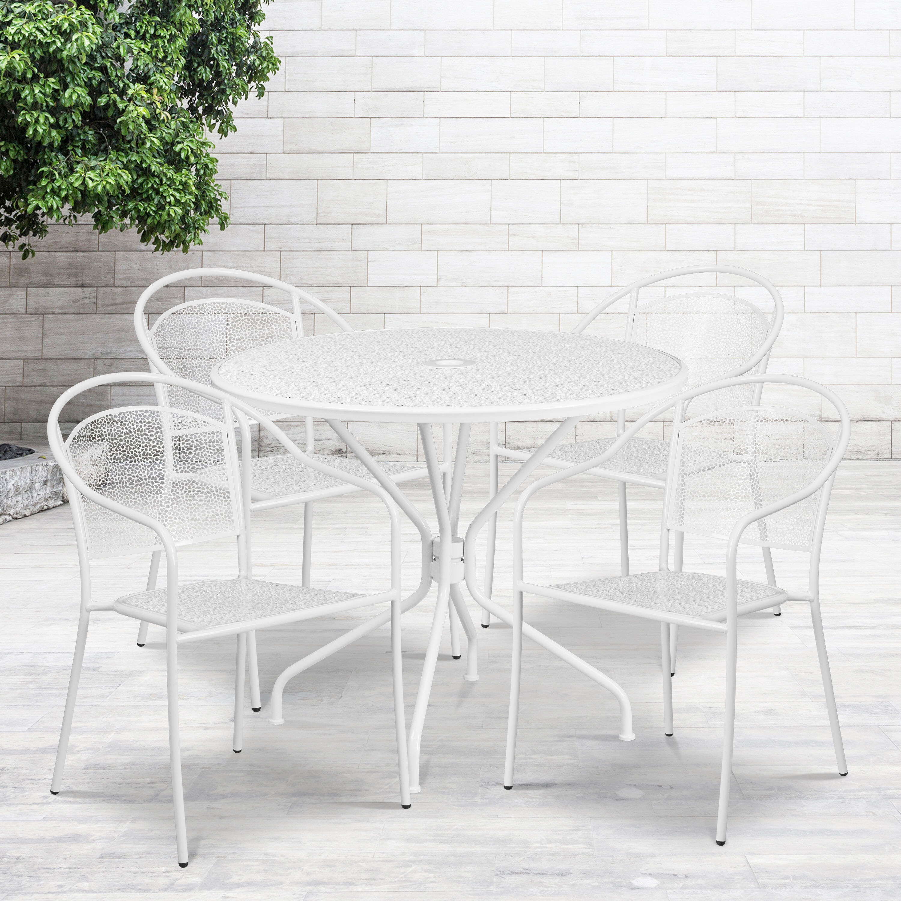 commercial grade 35 25 round white indoor outdoor steel patio table set with 4 round back chairs